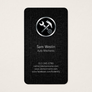 Auto Mechanic Car Tools Black Grunge BusinessCard Business Card