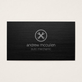 Auto Mechanic Car Tools Icon Dark Brushed Metal Business Card
