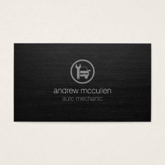 Auto Mechanic Car Wrench Icon Dark Brushed Metal Business Card