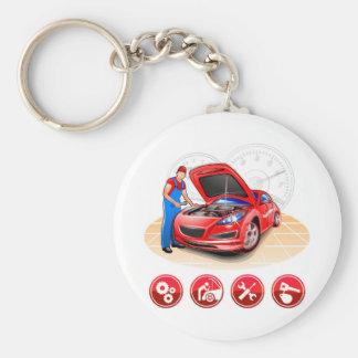 Auto mechanic basic round button keychain