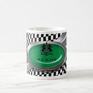 Auto Mechanic Racing Checkers Logo Coffee Mug