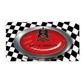 Auto Mechanic Racing Checkers Logo Label