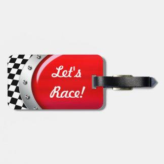 Auto Mechanic Racing Checkers Logo Travel Tag Luggage Tags