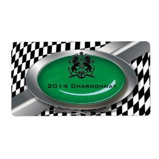 Auto Mechanic Racing Checkers Wine Label