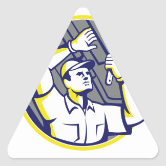 Auto Mechanic Wrench Under Chassis Car Triangle Sticker