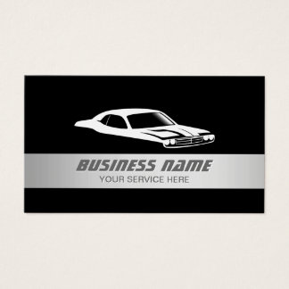Auto Modern Silver Striped Automotive Car Business Card