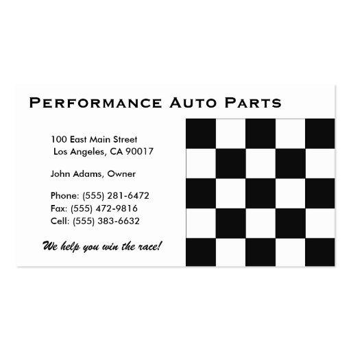 Auto parts b double sided standard business cards pack of for Auto parts business cards