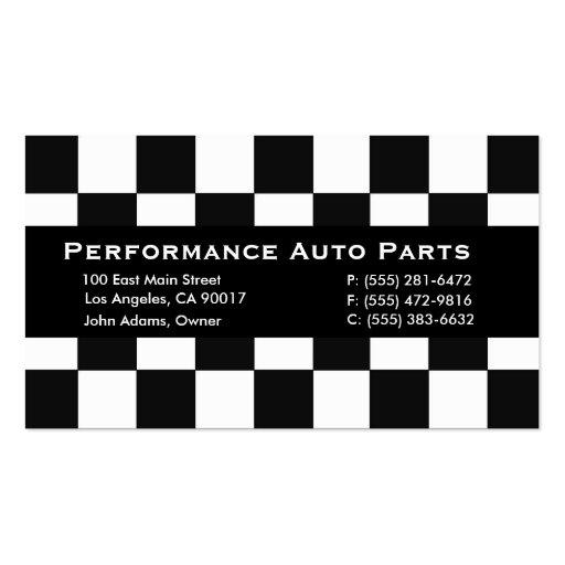 Auto parts black stripe business card zazzle for Auto parts business cards