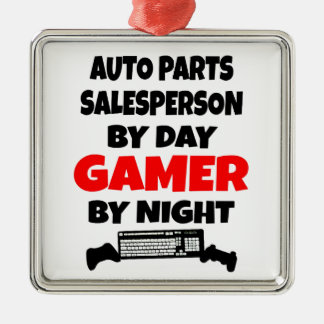 Auto Parts Salesperson by Day Gamer by Night Square Metal Christmas Ornament