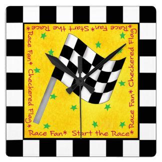 Auto Race Fan Checkered Flag Black Yellow Custom Square Wall Clock