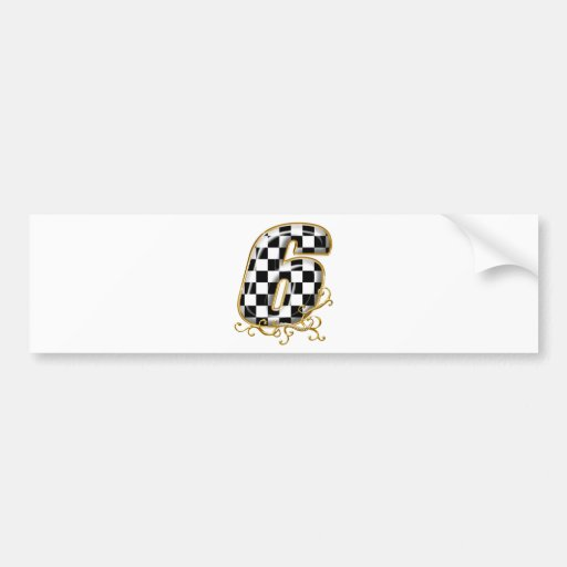 auto racin number 6 with gold accent bumper sticker