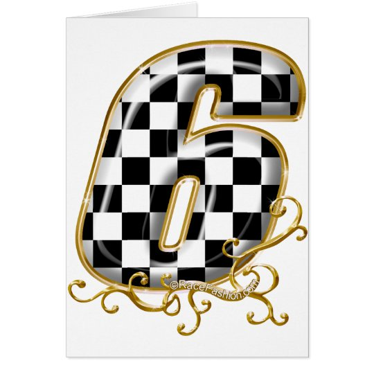 auto racin number 6 with gold accent card