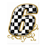 auto racin number 6 with gold accent postcards