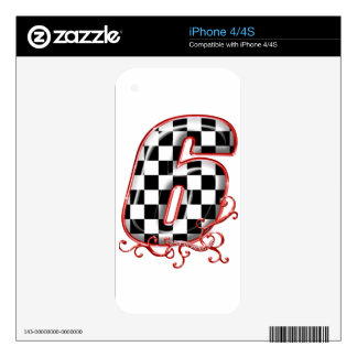 auto racing 6 in  red decal for iPhone 4