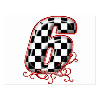 auto racing 6 in  red postcard
