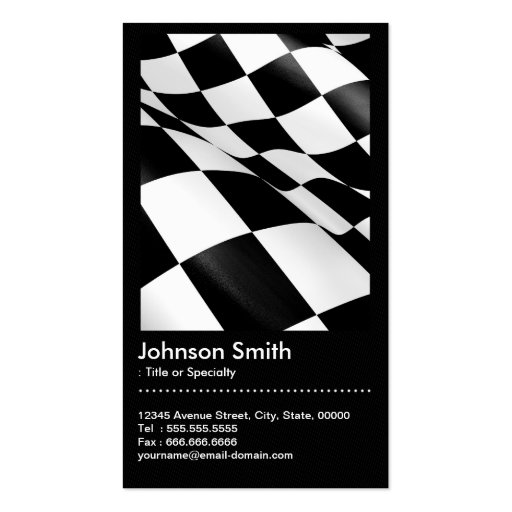 Auto Racing - Black White Checkered Flag QR Code Business Cards