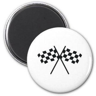 auto racing checker flag 2 inch round magnet
