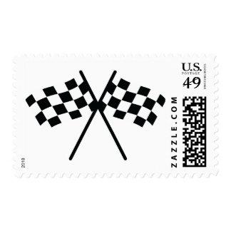 auto racing checker flag postage stamp