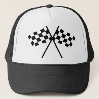 auto racing checker flag trucker hat