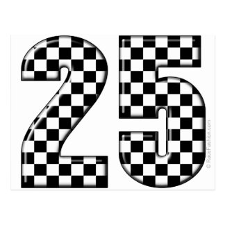 auto racing checkers number 25 postcard