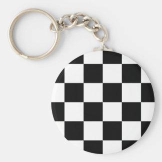 Auto Racing Chequered  Checkered Flag Basic Round Button Keychain