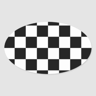 Auto Racing Chequered  Checkered Flag Oval Sticker
