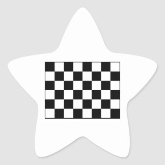Auto Racing Chequered  Checkered Flag Star Sticker