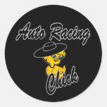 Auto Racing Chick #4 Round Stickers