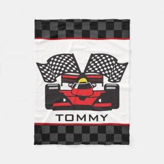 Auto Racing Design Fleece Blanket