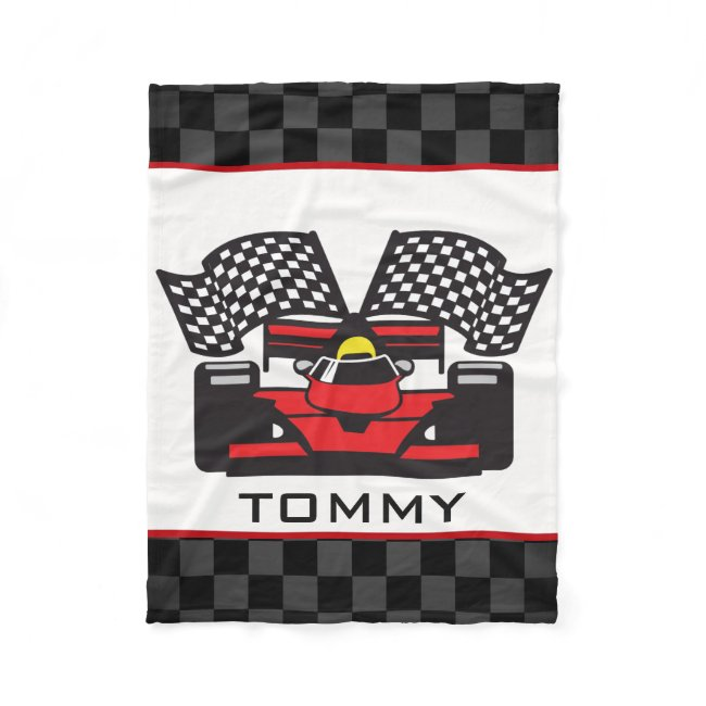 Auto Racing Design Fleece Blanket