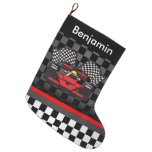 Auto Racing Design Large Christmas Stocking