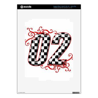 auto racing number 02 iPad 3 decal
