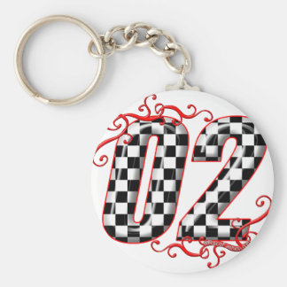 auto racing number 02 keychain