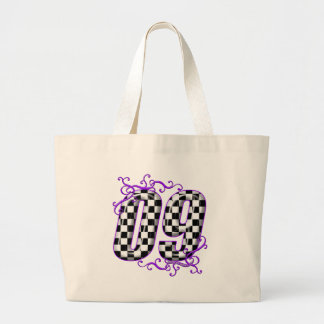 auto racing number 09 purple large tote bag