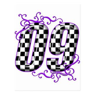auto racing number 09 purple postcard