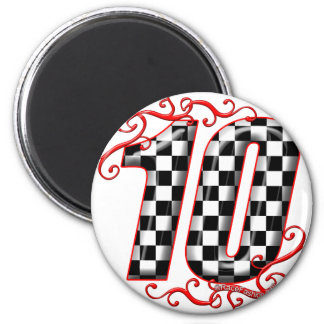 auto racing number 10 2 inch round magnet