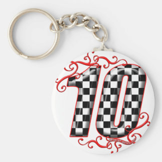 auto racing number 10 basic round button keychain