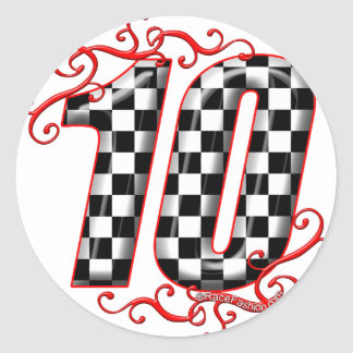 auto racing number 10 classic round sticker
