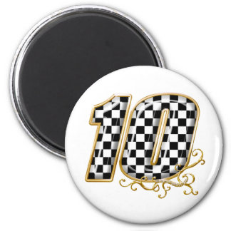 auto racing number 10 in gold 2 inch round magnet
