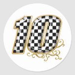 auto racing number 10 in gold round sticker