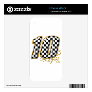 auto racing number 10 in gold decal for iPhone 4S