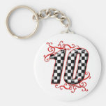 auto racing number 10 keychains