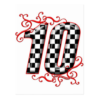 auto racing number 10 postcard