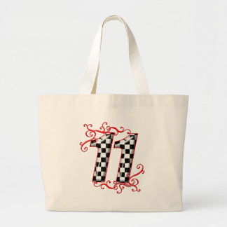 auto racing number 11 large tote bag