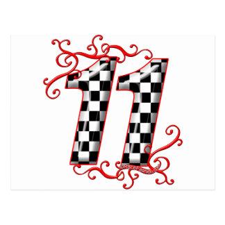 auto racing number 11 postcard
