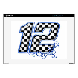 auto racing number 12 blue laptop decal