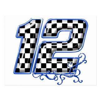 auto racing number 12 blue postcard