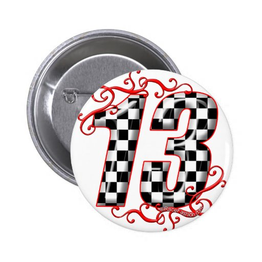 auto racing number 13 button