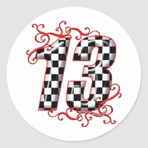 auto racing number 13 classic round sticker