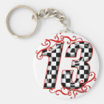 auto racing number 13 key chain